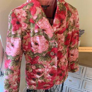 ANN TAYLOR Size 2 Pink & Green Floral Blazer